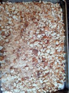 Lo mueles en el procesador de alimentos.  Las migajas de pan las colocas en una charola para hornear