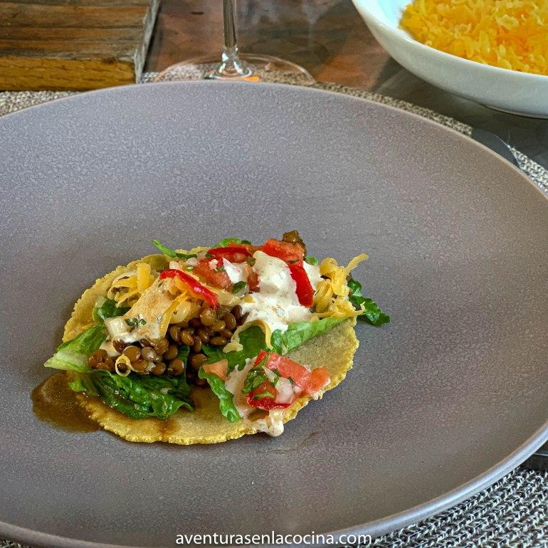 Tacos vegetarianos con lentejas