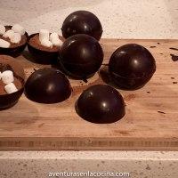 Esferas de chocolate y malvavisco
